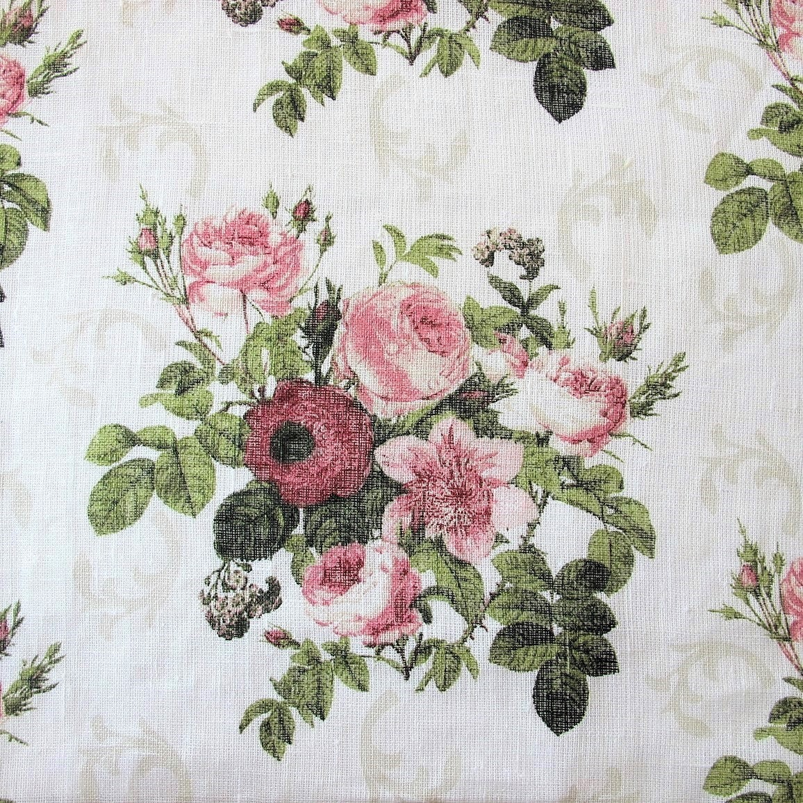 Linen Fabric Vintage Rose