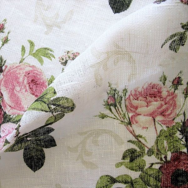 Linen Fabric Vintage Rose Rozenthal