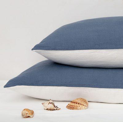 Reines Leinen Kissenbezug Weiß /Blau